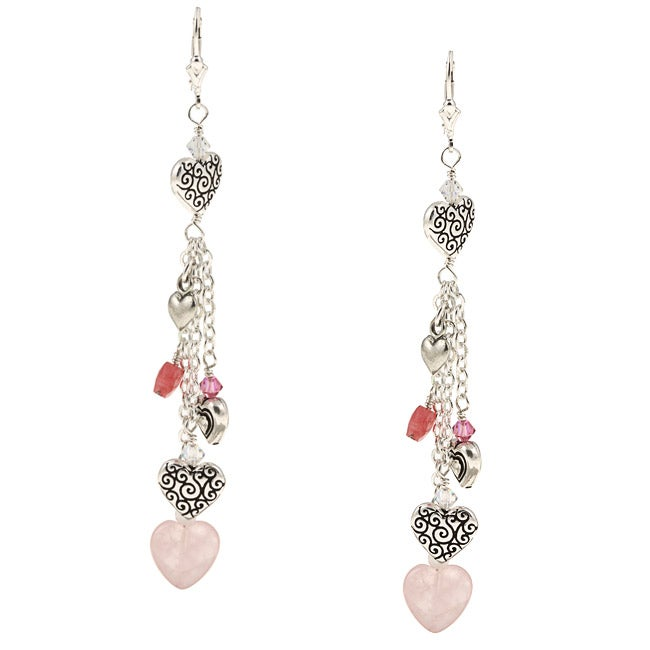 Charming Life Silver Rose Quartz, Jade and Pewter Heart Fringe Earrings