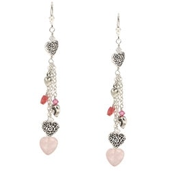 Charming Life Silver and Pewter Quartz, Jade and Pewter Heart Earrings