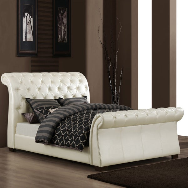 Tribecca Home Castela Soft White Faux Leather Queen Sleigh Bed 13642283
