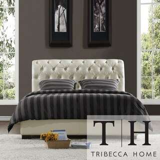 TRIBECCA HOME Castela Soft White Faux Leather Queen-size Bed
