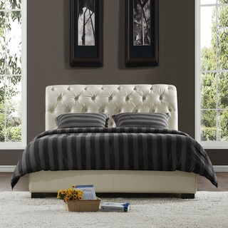 TRIBECCA HOME Castela Soft White Faux Leather King Bed