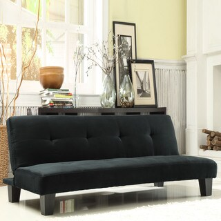 TRIBECCA HOME Bento Black Microfiber Suede Modern Mini Futon Sofa Bed