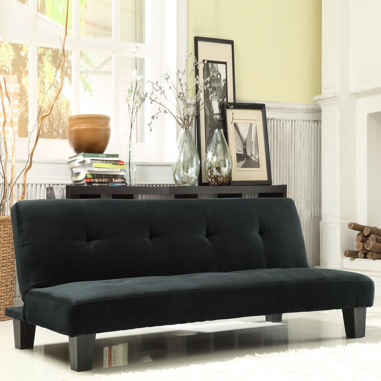 Futon Sofa Bed Black Furniture Modern Microfiber Suede