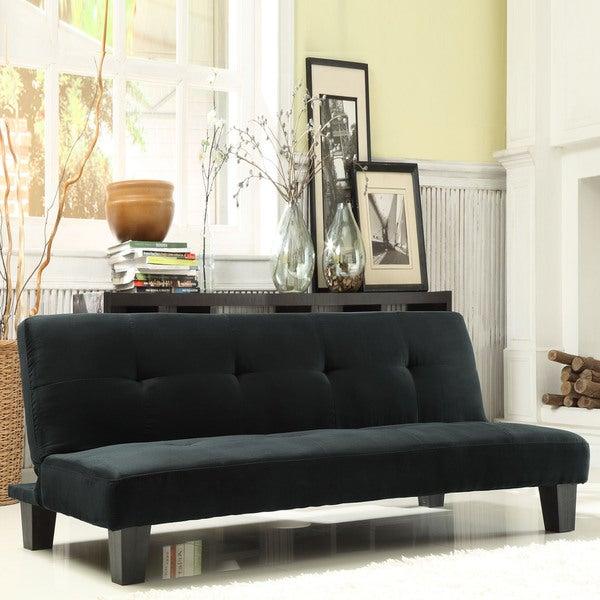 inspire q bento black microfiber suede modern mini futon. Black Bedroom Furniture Sets. Home Design Ideas