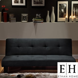 ETHAN HOME Bento Black Microfiber Suede Modern Mini Futon Sofa Bed