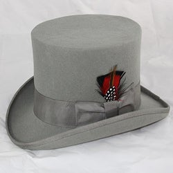 Ferrecci Men's Grey Wool Felt Top Hat