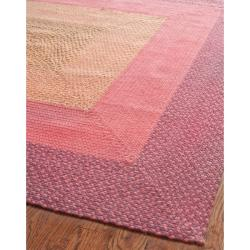 Hand-woven Reversible Pink Braided Rug (6' Square)