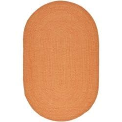 Hand-woven Reversible Peach/ Yellow Braided Rug (5' x 8' Oval)