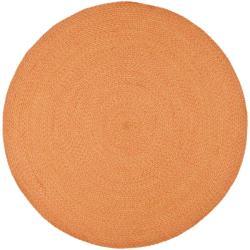 Safavieh Hand-woven Reversible Peach/ Yellow Braided Rug (6' Round)