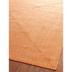 Hand-woven Reversible Peach/ Yellow Braided Rug (8' x 10')