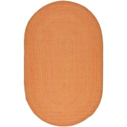 Hand-woven Reversible Peach/ Yellow Braided Rug (8' x 10' Oval)