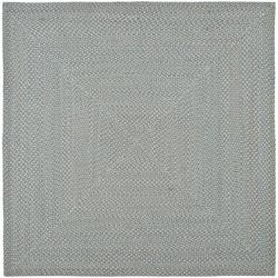 Hand-woven Reversible Grey Braided Rug (6' Square)