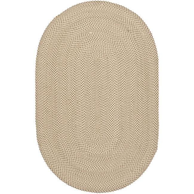Safavieh Hand-woven Reversible Beige/ Brown Braided Rug (5' x 8' Oval)