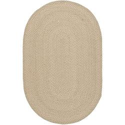 Hand-woven Reversible Beige/ Brown Braided Rug (5' x 8' Oval)