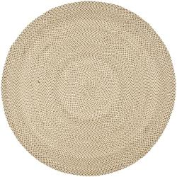 Hand-woven Reversible Beige/ Brown Braided Rug (6' Round)