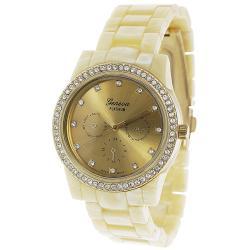 Geneva Platinum Women's Goldtone Rhinestone-Accented Link Watch