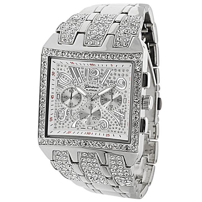 Geneva Platinum Men's Rhinestone Chronograph-style Link Watch