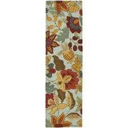 Safavieh Handmade Blossom Floral Light Blue Wool Rug (2'3 x 8')