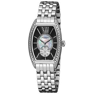 Akribos XXIV Women's Black/Stainless-Steel Diamond Swiss-Quartz Tonneau-Bracelet Watch