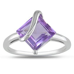 Miadora Sterling Silver Square-cut Amethyst Fashion Ring