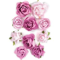 Fuchsia Paper Blooms Assorted Craft Embellishments (Pack of 10)