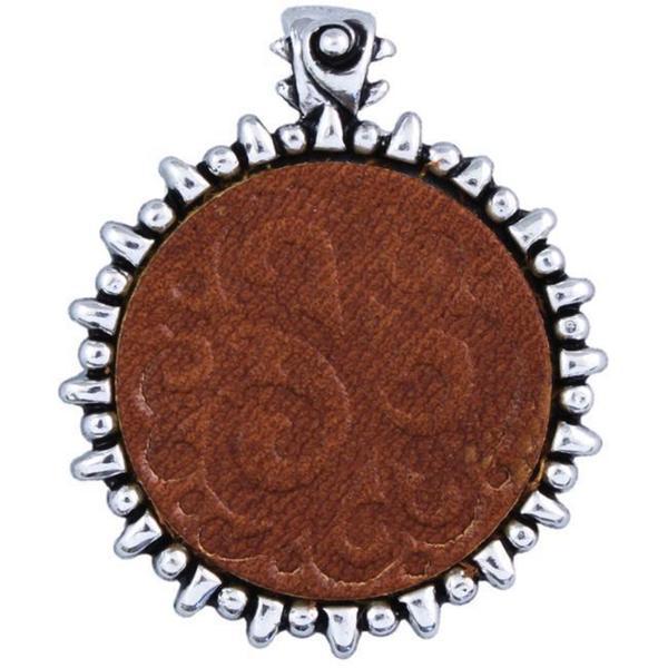 Metal/ Leather Saddle Tan Swirl Pendant