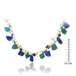 Glitzy Rocks 18k Gold over Silver Turquoise and Lapis Necklace