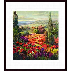 Robert Lombardi 'Fields of Bloom' Wood-framed Art Print