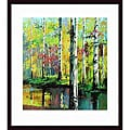 Jie Zhou 'Creekside II' Wood-framed Art Print