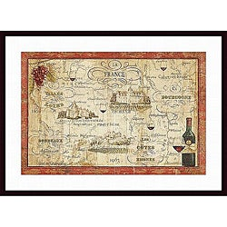 Daphne Brissonnet 'Wine Map' Wood-framed Art Print