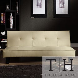 TRIBECCA HOME Bento Beige Faux Leather Modern Mini Futon Sofa Bed