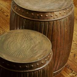 Set of 2 Steel Fluted Round Barrels (India)