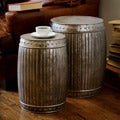 Set of 2 Natural Steel Fluted Round Barrels (India)