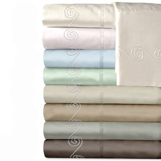 Grand Luxe Egyptian Cotton Sateen 500 Thread Count Swirl Deep Pocket Sheet Set