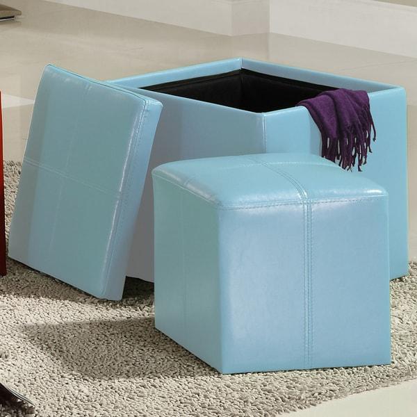 TRIBECCA HOME Swayne Blue Storage Ottoman with Mini Foot Stool