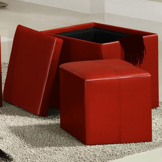 TRIBECCA HOME Swayne Red Storage Ottoman with Mini Foot Stool