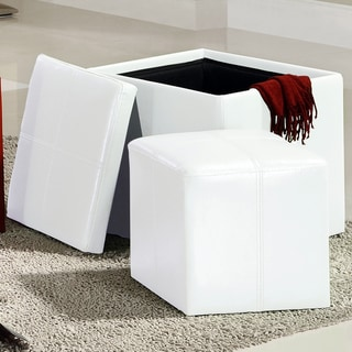 Tribecca Home Swayne White Storage Ottoman with Mini