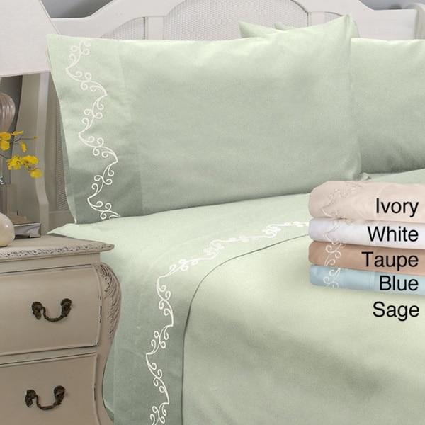 Grand Luxe 300 Thread Count Egyptian Cotton Sateen Scroll Deep Pocket Sheet Set or Pillowcase Separates