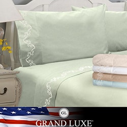 Grand Luxe Egyptian Cotton Sateen Scroll Deep Pocket Sheet Set or Pillowcase Separates