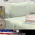 Grand Luxe 300 Thread Count Egyptian Cotton Sateen Scroll Deep Pocket Sheet Set or Pillowcase Separates