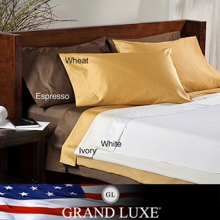 Grand Luxe Egyptian Cotton Sateen 800 tc Deep Pocket Sheet Set and Pillowcase Separates