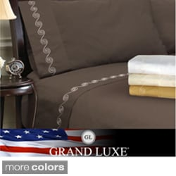 Grand Luxe Egyptian Cotton Sateen 800 TC Deep Pocket Swirl Sheet Set or Pillowcase Separates
