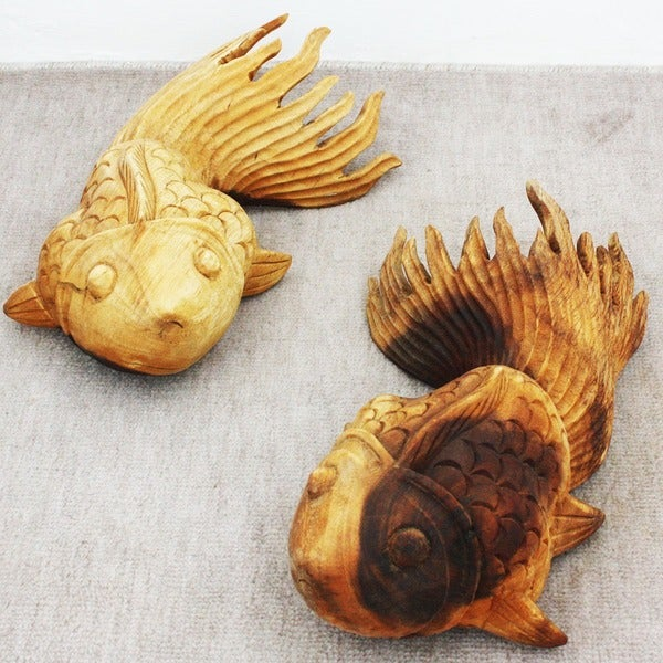 Set of 2 Wood Tung Oil Left/ Right Medium Carved Puff Fish (Thailand)