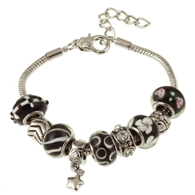 La Preciosa Glass Silverplated Black Glass Bead and Charm Bracelet