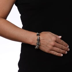 La Preciosa Glass Silverplated Black Glass Bead and Charm Bracelet