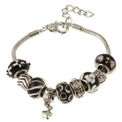La Preciosa Glass Silverplated Black Glass Bead and Charm Pandora-style Bracelet