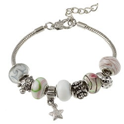La Preciosa Glass Silverplated Sealife Bead and Charm Pandora-style Bracelet