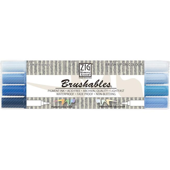 Zig Memory System Brushables Blue Dual-Tip Markers (Pack of 4)