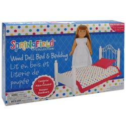 Fibre Craft Springfield White and Pink Doll Bed