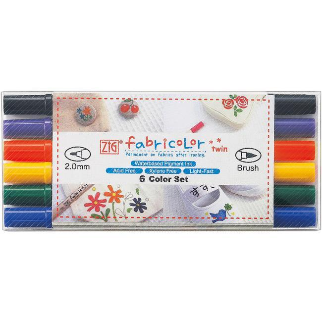 Zig Fabricolor Twin-tip Markers (Pack of 6)